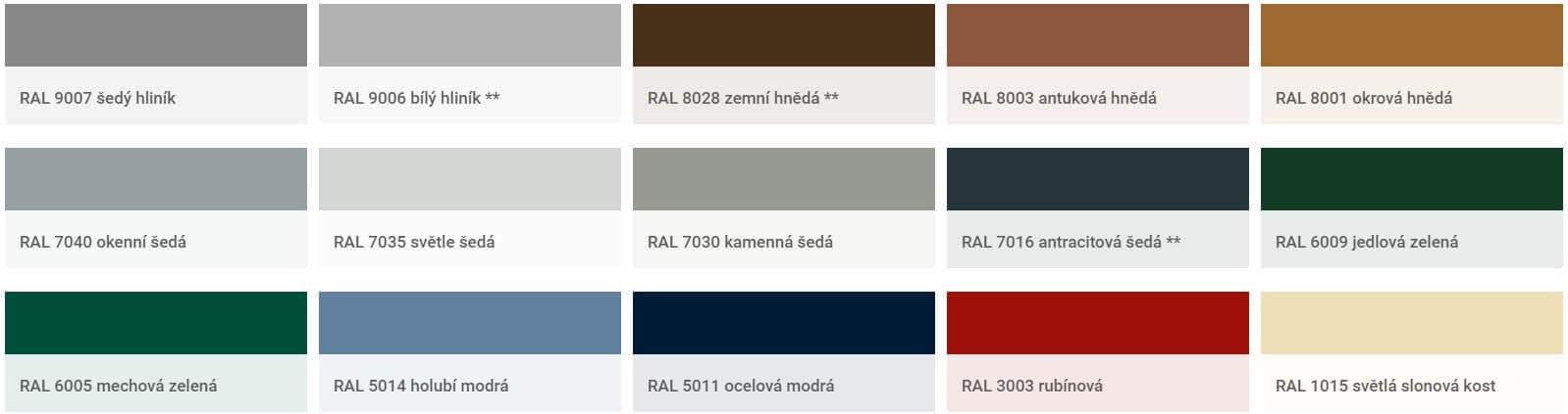 barva vrata paleta | Vrata Kolář